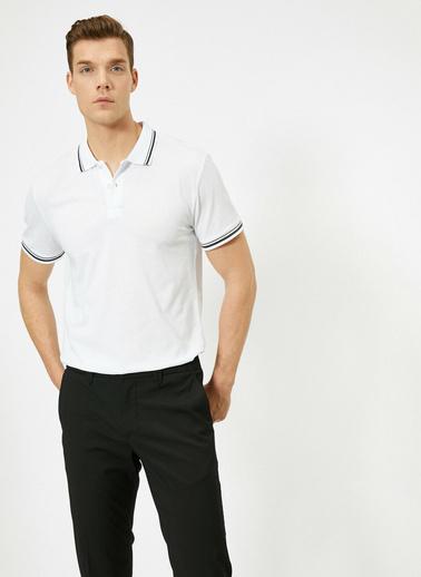 Koton Polo Yaka Kol ve Yaka Ucu Çizgili Slim Fit T-Shirt Beyaz